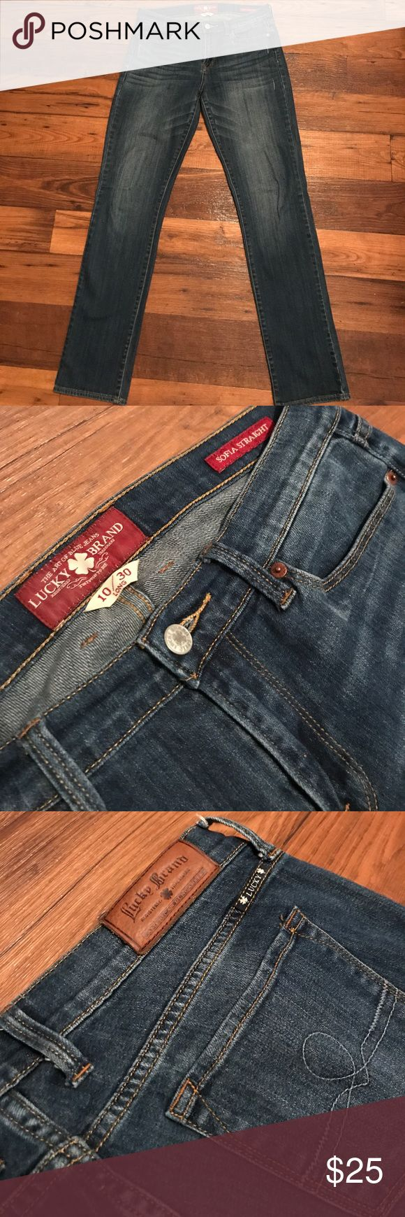 Lucky Brand Sofia Straight Cut Jeans Straight cut, medium wash jeans in 10/30 long fit. Minor distress details. Lucky Brand Jeans Straight Leg