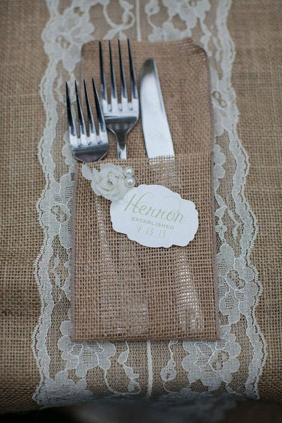 Burlap Silverware Holder on Etsy, $2.00  Like the idea of adding Name tag/wedding date