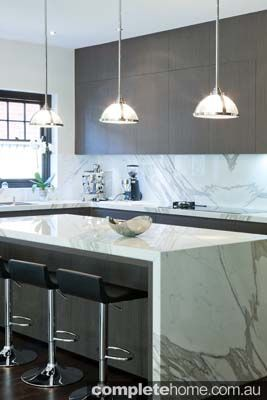 White marble island counter.