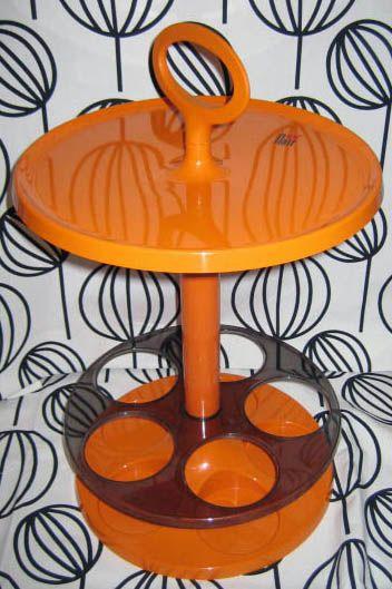 Mini Bar Portatif - Plastique Orange et Fumé Brun - Flair - Années 70