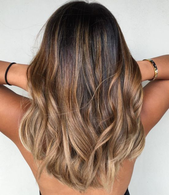 Balayage Hair #22: Medium Hair with Copper and Beige Highlights