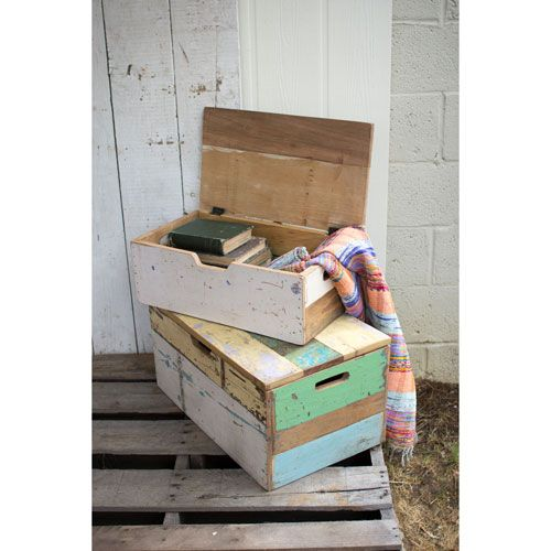 Recycled Wooden Toy Trunks, Set of Two