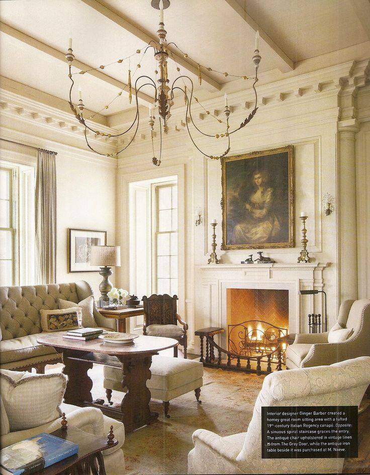 Interior Designer Ginger Barber Created A Homey Great Room Sitting Area With Tufted Italian Regency Canap