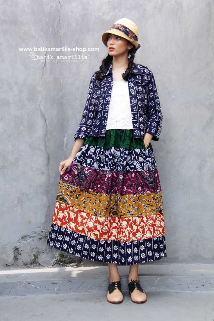Batik Amarillis made in Indonesia Batik Amarillis's Traveller jacket & Birthday midi skirt which has 7 layers of gorgeous batik Gedog Tuban patchworking , the jacket itself is sporty chic, a safari kinda a style with a twist!!!