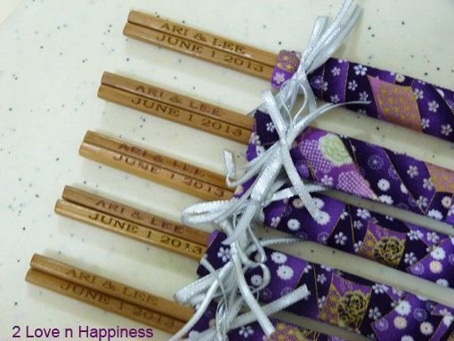 Japanese Chopsticks Wedding Favors with by 2LovenHappiness on Etsy, $76.00