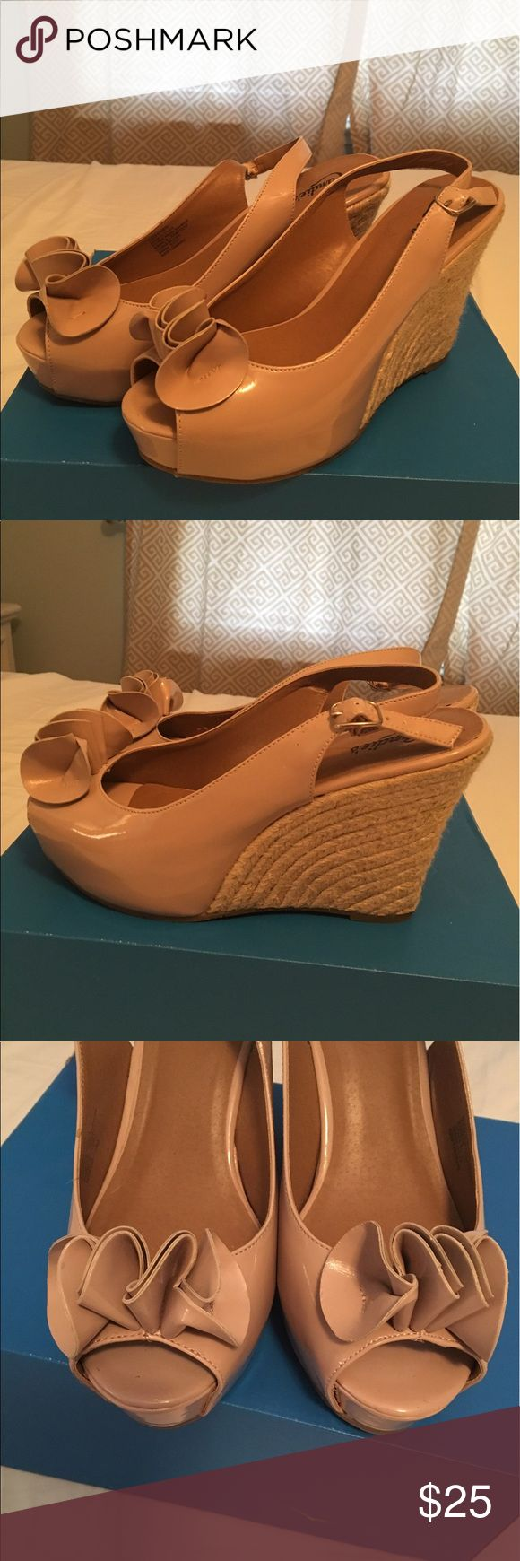Nude espadrilles Platform nude patent espadrilles. Peep toes and sling back! So cute! Great condition worn 1x Candie's Shoes Espadrilles