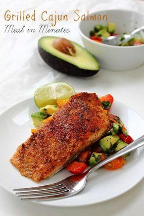 Simple Cajun Salmon! With tomato n avocado summer salsa! #dinnerinminutes #paleo