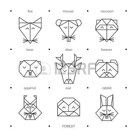 Vector Origami Animals For Tattoo Or Coloring Book