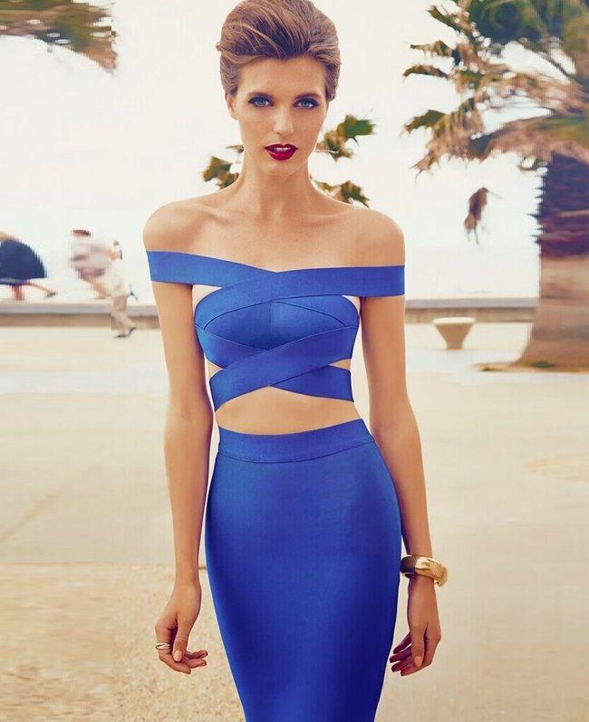 Cheap 2 Piece Set Dress Top selling Blue Around Neck Celebrity Bandage Dress For Sale Uk Wholesale