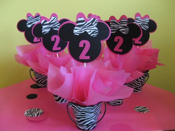 Six MINNIE MOUSE zebra centerpiece table decorations by missdaisyw