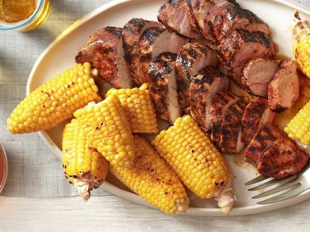 Grilled Pork Tenderloin with Corn on the Cob from #FNMagFood Network, Pork Tenderloins Recipe, Fourth Of July, Grilled Pork Tenderloins, Meat, 4Th Of July, Cob, Foodnetwork, Corn