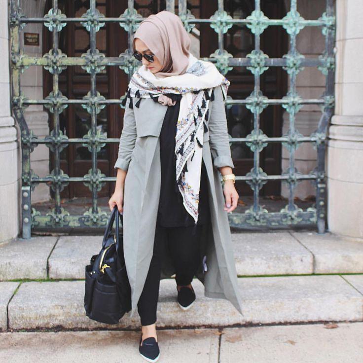S A N I A ❥ | long gray coat + black shirt + nude pink scarf/hijab + tassel scarf + black skinny jeans + loafers + shoulder bag