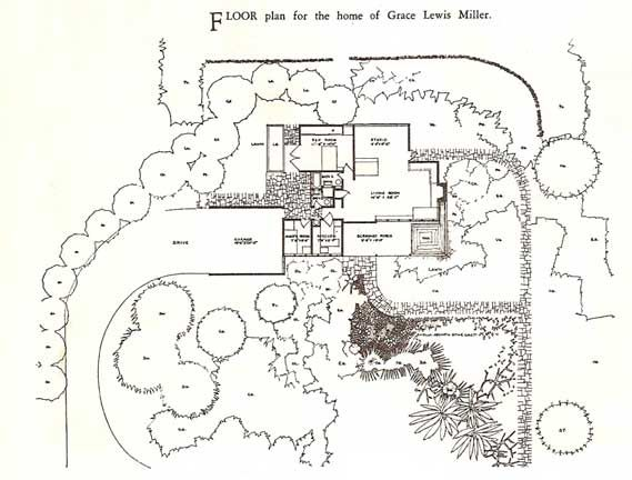 Grace Miller House plans by Richard J. Neutra