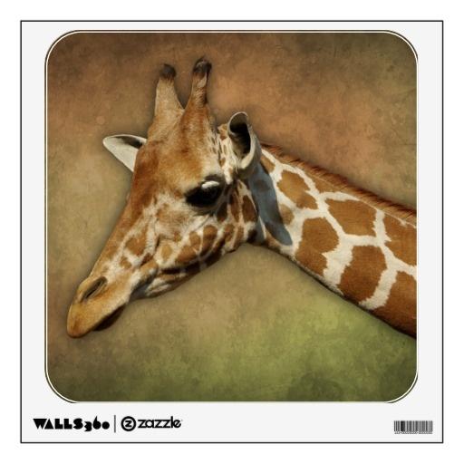 Baby #Giraffe head on brown grunge background Room Graphic  #nature #animal #cute   $17.95