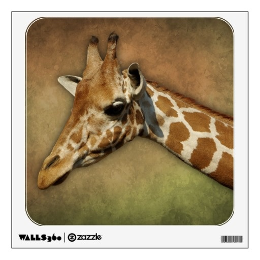 Baby #Giraffe head on brown grunge background Room Graphic  #nature #animal #cute   $17.95