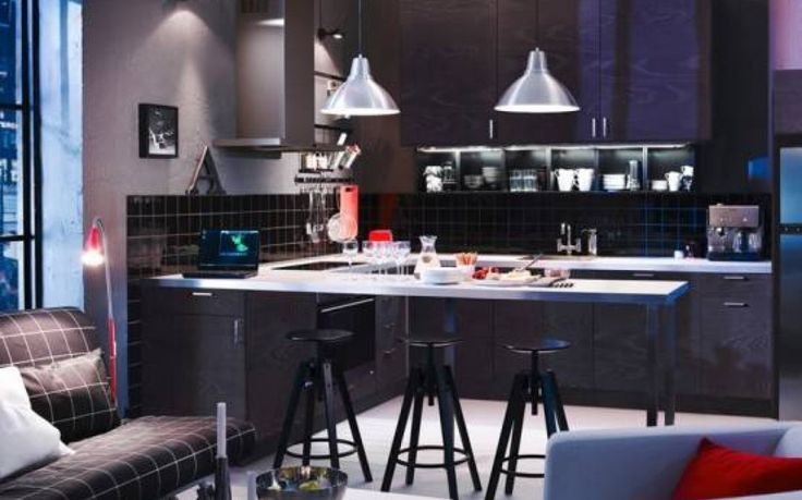 Captivating Ikea Kitchen Catalogue With L Shape Black Color Kitchen Cabinets And Mounted Kitchen Table With Backless Stools Also White Granite Countertops Also Pendant Lamps And High Wall Mounted Cabinets Also Built In Stoves And Black Ceramics Backsplashes Also Undermount Kitchen Sink As Well As Kitchen Designs Ikea  And Ikea Kitchen Designers, Appealing Ikea Kitchen Catalogue: Furniture
