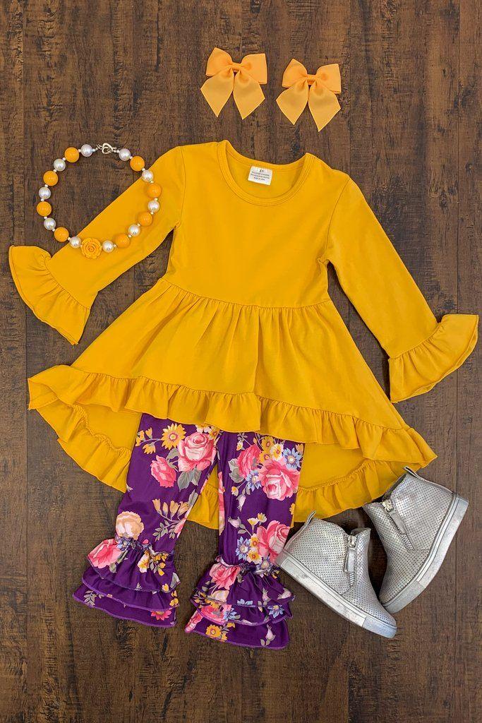 928b9310369 Mustard   Purple Floral Boutique Set Botique Clothing