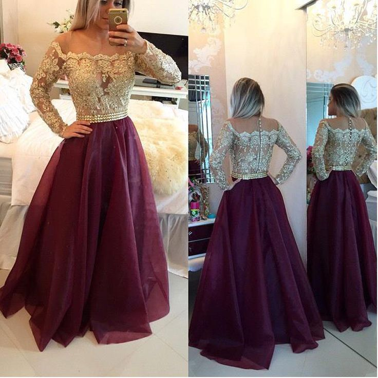 Find More Prom Dresses Information about 2017 New Sheer Long Sleeve Gold Lace Evening Gowns Beaded Top Organza Floor Length Prom Dress Hollow Buttons Formal Party Dress ,High Quality dress patterns prom dresses,China dress cardigan Suppliers, Cheap dresses lace from Suzhou Wedding Love Store on Aliexpress.com