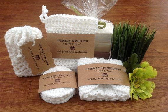 Crochet Spa Set, Crochet Washcloth, Crochet Scrubbies, Crochet Headband, Crochet Soap Saver, Cotton Bath Set, Gift For Her, Ready to Ship!!!