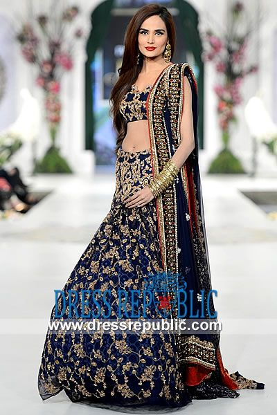Blue Coral Azwer - DR9810, Blue Bridal Lehenga 2013 Collection, Latest Navy Blue Bridal Lehengas 2013 Collection by www.dressrepublic.com