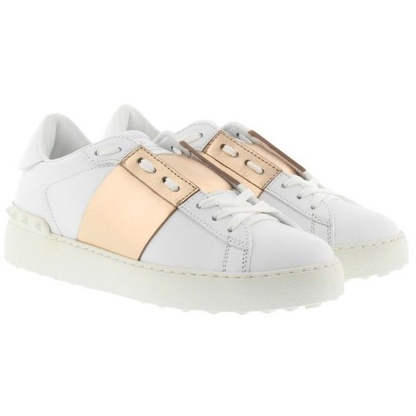 Valentino Sneakers - Bicolor Rockstud Sneaker White/Noisette - in... ($345) ❤ liked on Polyvore featuring shoes, sneakers, white, valentino sneakers, metallic flat shoes, white flat shoes, valentino trainers and leather sole shoes