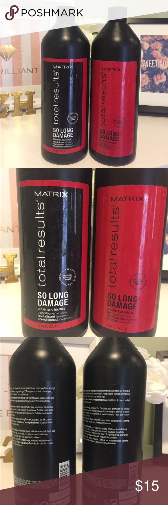 New MATRIX Total Repair Set New MATRIX total results so long damage shampoo & conditioner.  33.8 FL OZ both bottles full  Smells great - awesome deal!   Purchased each bottle for $20 Matrix Other