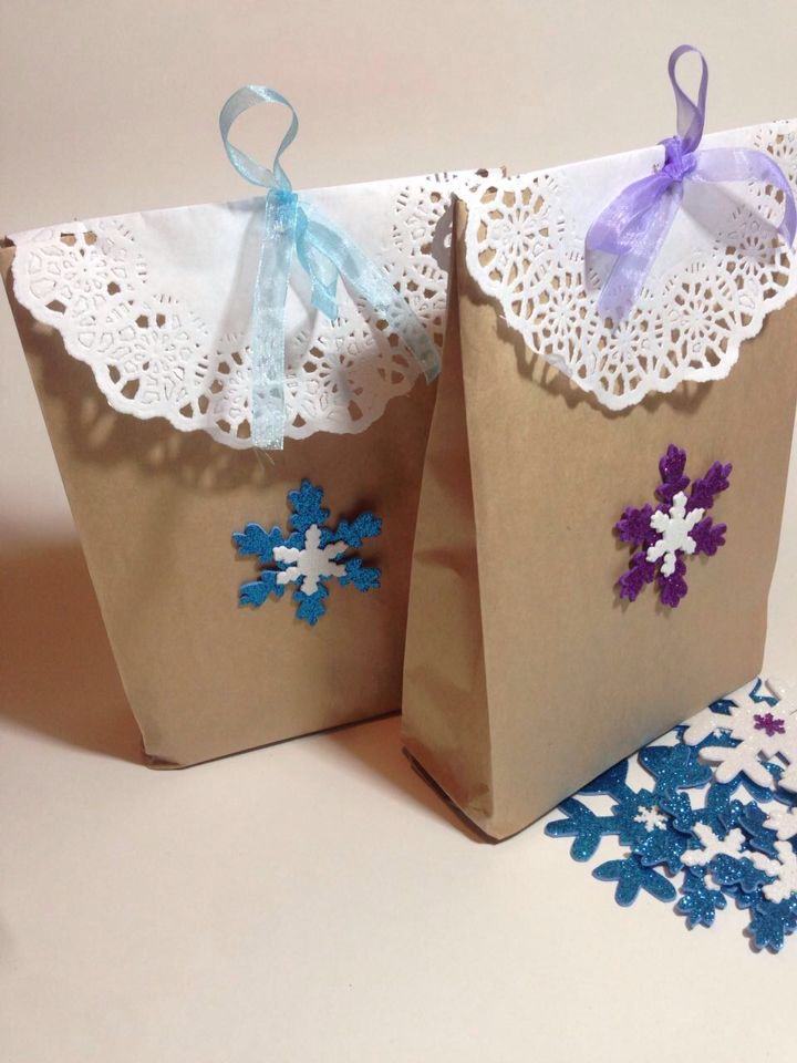 Frozen purple and light blue bags