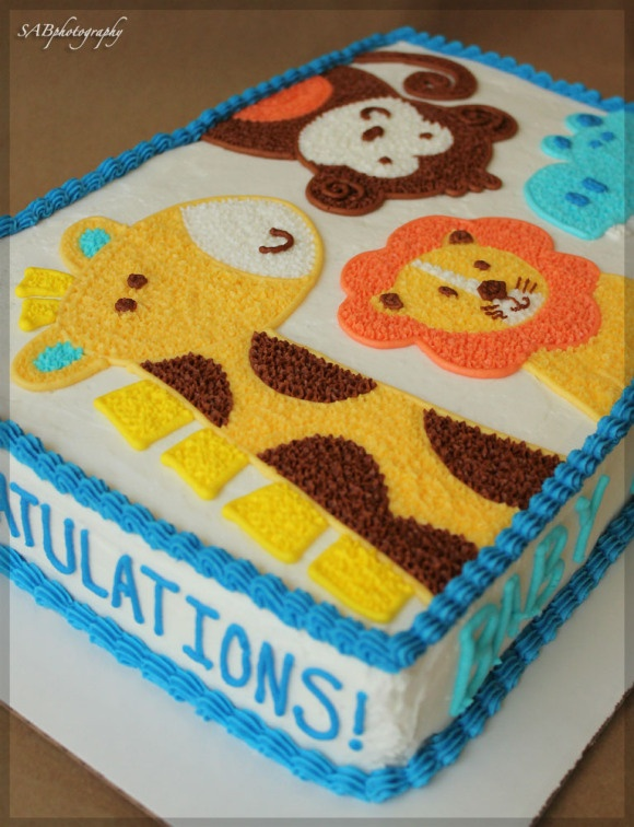 Blue Ombre Animal Cake. Baby Shower Sheet ...