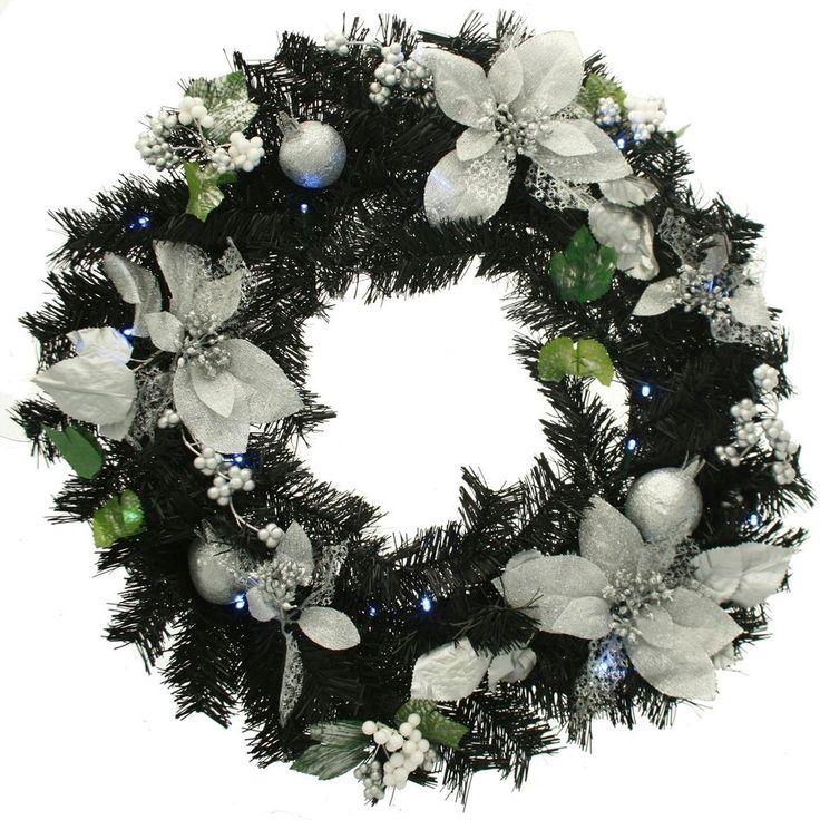#Ebay #Christmas #Wreath #Decoration #Black #Silver #60cm #Illuminated #20 #White #LED #Lights