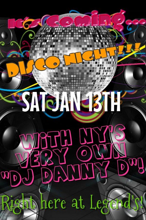"""""""DJ Danny D"""" Disco Night! Sat Jan 13th, 2018!"""