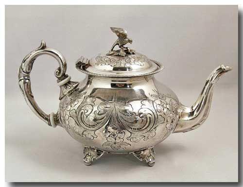 JOHN TURTON HAND-CHASED SILVER PLATED TEA POT