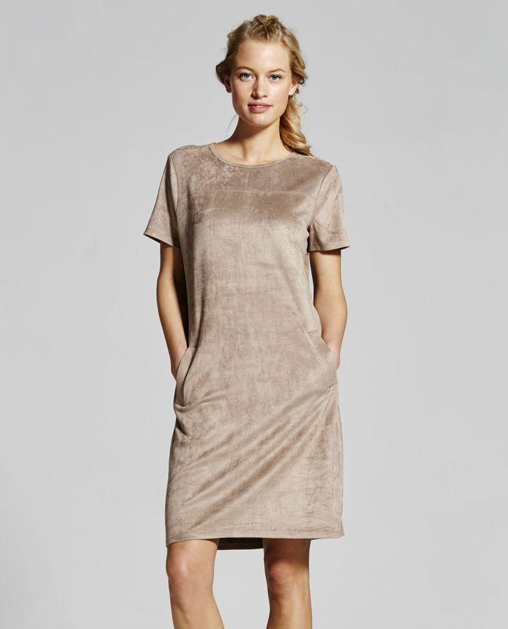 suedine beige dress Yaya @ Paleis