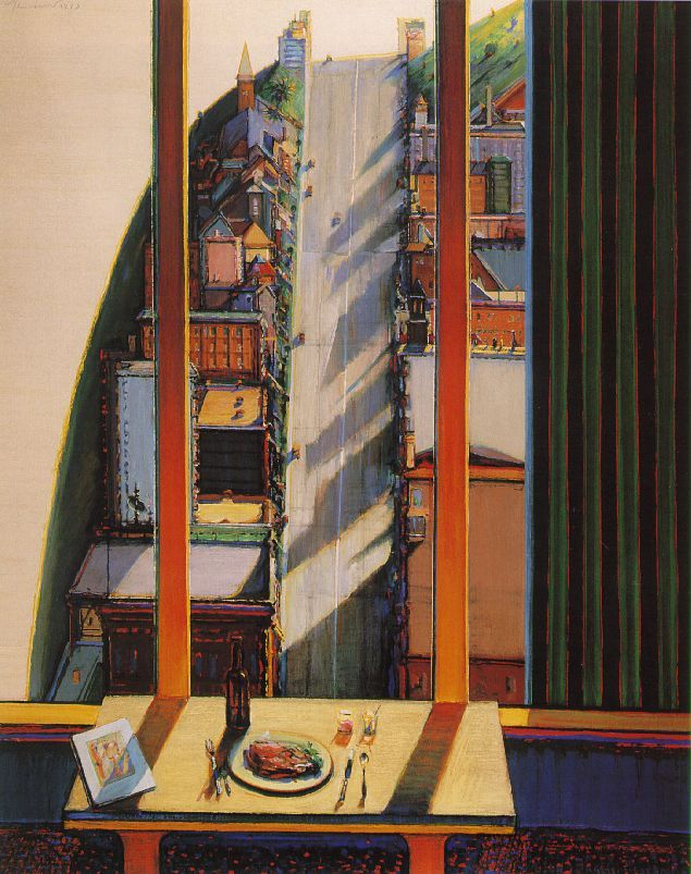 "1993. Wayne Thiebaud, ""Apartment View"". ""The American Morandi"". ""The Chardin and the Corot of the West Coast : he reinterprets traditional values in American terms"". How come ? In 1958 he saw works of Sorolla y Bastida (bold paint handling) and I Macchioli (colour use). After lots of marginal artistic jobs, he started with food paintings and went on to landscapes."