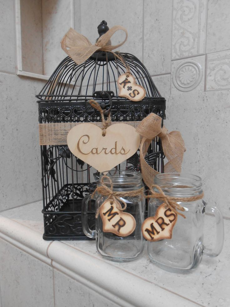 Rustic Birdcage Wedding Cardholder And Mason Jar Toasting Glasses / Card Box. $80.00, via Etsy.
