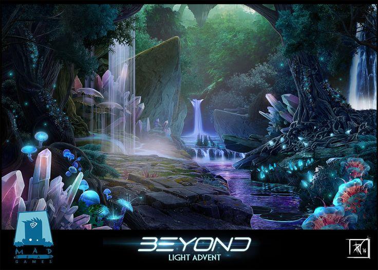 Crystal Waterfalls, Petra Nikolic on ArtStation at https://www.artstation.com/artwork/DLGgO