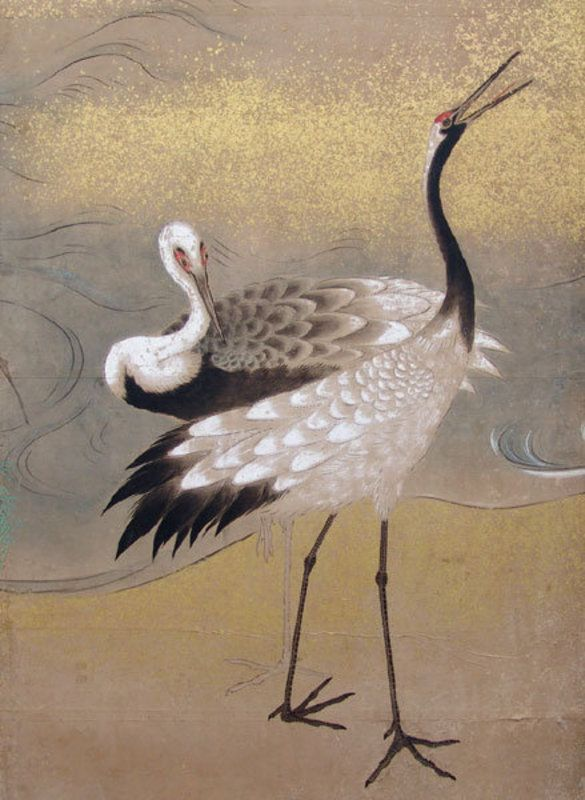 Important Edo p. Japanese Crane Screen, O-oka Shunboku
