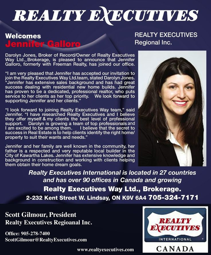 Join Darolyn Jones in welcoming Jennifer Galloro to the team at Realty Executives Way Ltd. in Lindsay Ontario!!  Jennifer has a long standing history with Lindsay through Grajen Homes and can easily help you find your next dream home. Email jennifer@realtyexecutivesway.com or call her directly at (416) 505-5210   #home #property #darolynjones #realtyexecutivesway #ontario