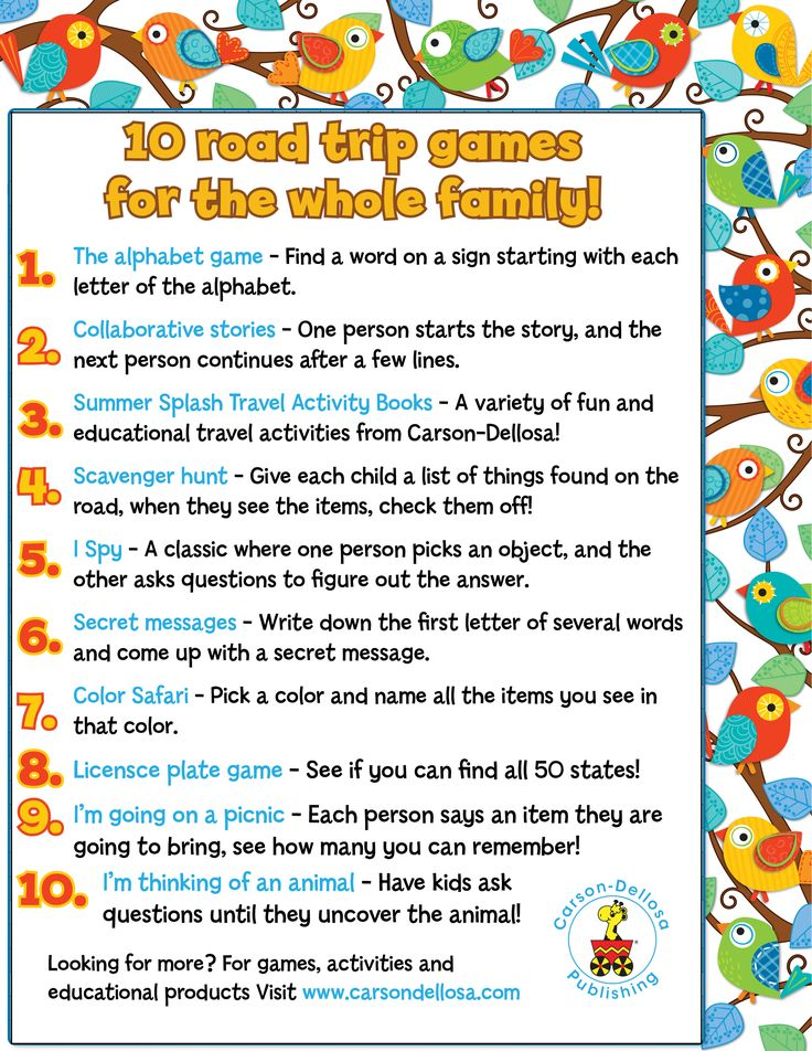 games to play on a field trip