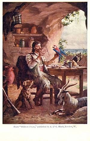 crusoes island as an allegorical expression Crusoe's conversation with his father about leaving home can be interpreted from a religious perspective as well from an economic perspective.