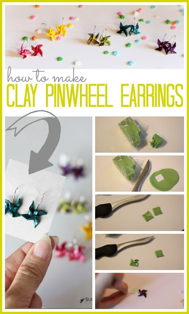 How to Make Clay Pinwheel Earrings ~ these are so simple and cheap to make - - great summer craft project!!  Sugar Bee Crafts