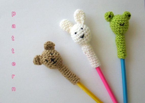 Crochet Animal Pencil Toppers Pattern 3 in 1 Bear, Bunny, Frog - Instant Download PDF on Etsy, $4.01