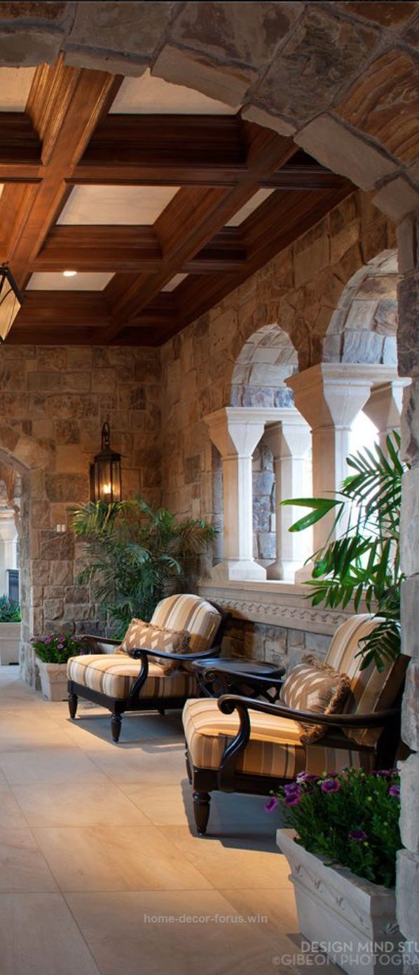 Awesome coffered ceiling veranda, chunky stone walls and archway. Rustic Elegance.  outdoor draperies and fabrics available designNashville.com message us any requests  The post  coffered ceili ..