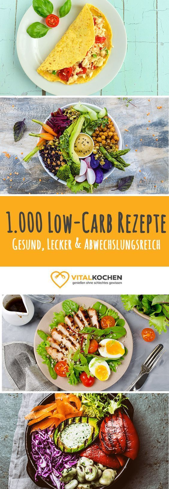 Über 1.000 Low-Carb Rezepte zum Abnehmen - Vegetarisch oder mit Fisch & Fleisch - Frühstücks-, Mittags- und Abendessen Rezepte auf Vitalkochen.de