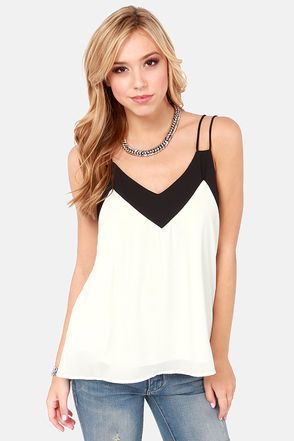 Two-Tone It Down Black and White Top at LuLus.com!  #lulus #holidaywear simple but amazing