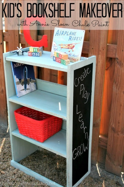 Kid's bookshelf makeover L<3ve the chalkboard paint on the side!!!
