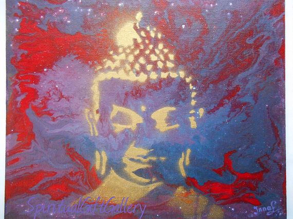Original Acrylic Painting on Canvas Board Abstract Buddha