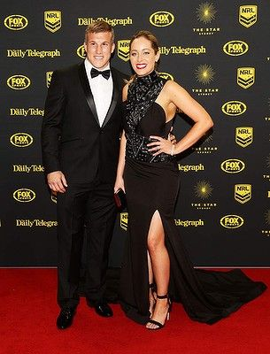 Trent Hodkinson and Chantelle Traficante arrive at the Dally M Awards at Star City on September 29, 2014 in Sydney, Australia.