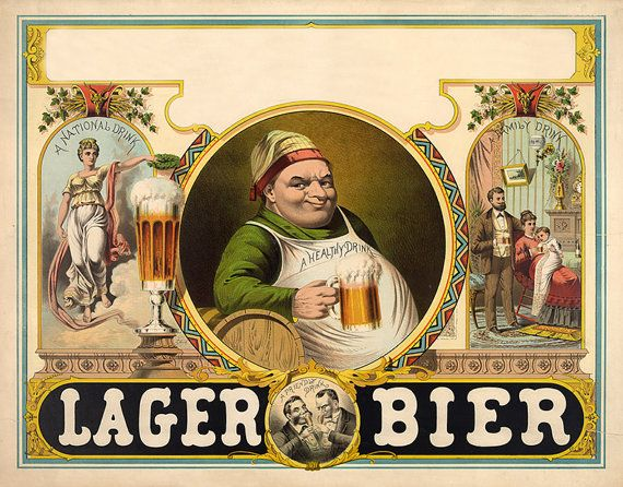 Lager bier - People drinking lager beer, 1879.  Advertisment.  Vintage reproduction Print.