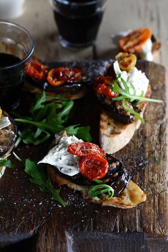 Bruschetta with Grilled Eggplant, Slow-Roasted Tomatoes, Burrata and Rocket.