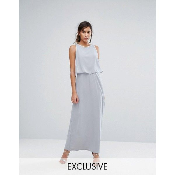 Silver Bloom 2 in 1 Maxi Dress with Embellishment ($60) ❤ liked on Polyvore featuring dresses, grey, silver maxi dress, gray midi dress, grey maxi dress, grey midi dress and strapless midi dress